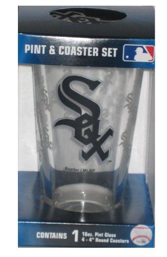 Chicago White Sox MLB 16oz Logo Pint Glass & 4 Piece Coaster Set
