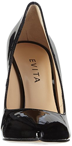 Mujer Tacón Cerrada Pump Schwarz Punta con Negro de Evita para 10 Zapatos Shoes qWUnwIITz