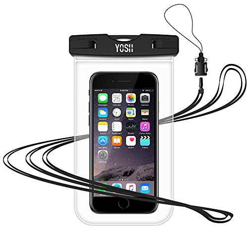 Waterproof Cell Phone Pouch YOSH Waterproof Phone Case Dry Bag for Apple Touch ID iPhone X, 8, 7, 6, 6s plus, BLU, Samsung Galaxy Note 8, S8+, S8, S7, S6, Pixel, Moto, up to 6.3 inches (Transparent)