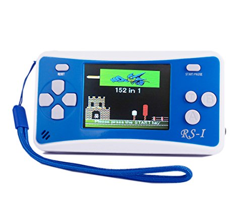 "QINGSHE Handheld Game Console, Kids Classic Retro Game Electronics Toys Portable Video Console Player, 2.5"" LCD 8-Bit 152 in 1 Games Arcade Video Gaming System Device,Great Gift for Kids-Blue"