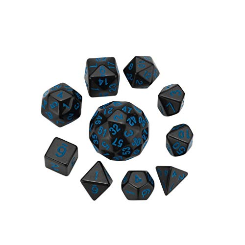 1KTon 10Pcs Party For Game Dungeons & Dragons Polyhedral D60 Multi Sided Acrylic Dice