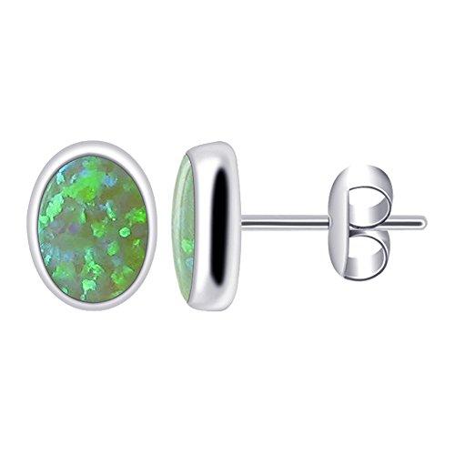 (925 Sterling Silver Green Created Opal Oval Stud Earrings 8 x 6mm October Birthstone)