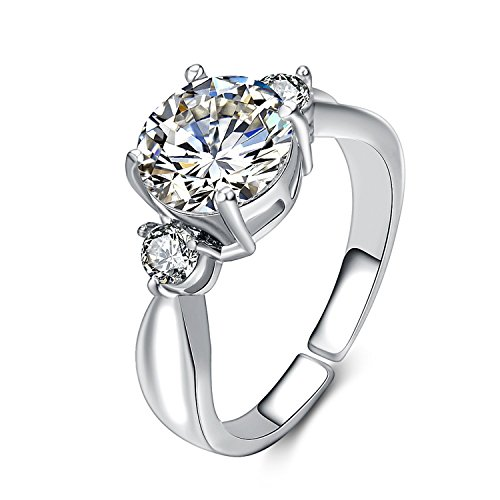 [eManco Engagement CZ Wedding Open Cuff Rings for Women Cooper Platinum Jewelry (Size: L)] (Costume Jewelry Diamond Rings)