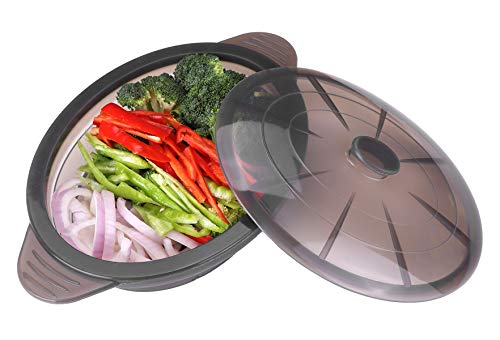 Microwave Steamer Collapsible Bowl-Silicone Steamer with Handle & Lid for Meal Prep with Detachable Partition, Easy to Store, BPA Free,Microwave Cookware, Freezer & Dishwasher Safe, Black (Pot Microwave Steamer)