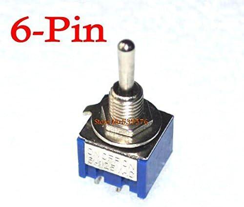 lot DPDT de 6 pines de alta calidad ON-ON Mini interruptor de palanca 6A 125VAC Mini-interruptores 10pcs