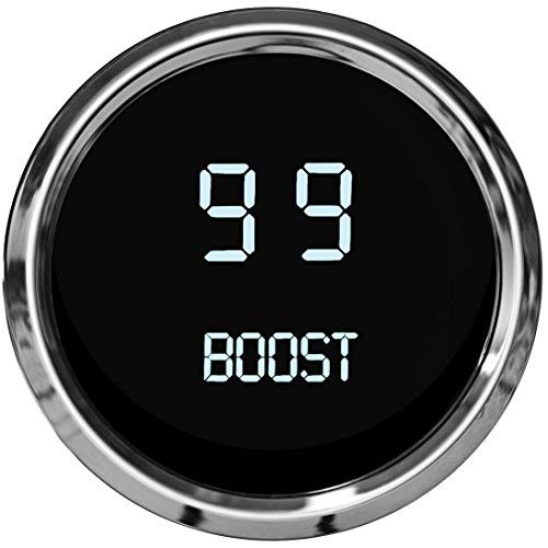 Intellitronix LED Digital Boost Gauge in Chrome Bezel (White)