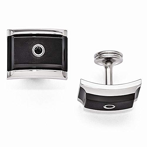 - Edward Mirell Black Ti and Steel Black Spinel Sterling Silver Bezel Cuff Link