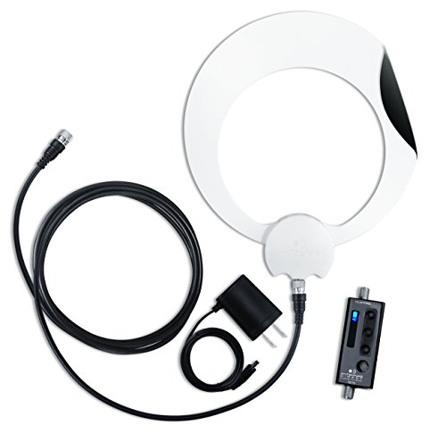 ClearStream Eclipse Amplified TV Antenna, 50+ Mile Range, Multi-Directional, Grips to Walls, 20dB in-Line Signal Amplifier, 15 ft. Coaxial Cable, 5 ft. USB Cable and USB Power Adapter, Black or White