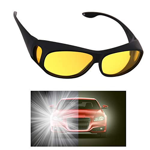 GLTECK Night Driving Glasses, Anti Glare Night Vision Glasses HD Polarized Yellow Tint Fit Over Wrap Around Prescription Eyewear for Men Women