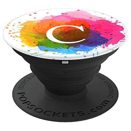 Elegant Color Splash Monogram Letter C Black Grip Gift - PopSockets Grip and Stand for Phones and Tablets