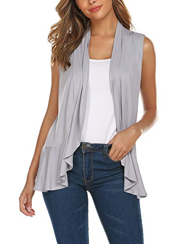 Big Tall Sweater Vests - Zeagoo Women's Sleeveless Irregular Lightweight Soft Draped Open Front Cardigan Sweater Vest