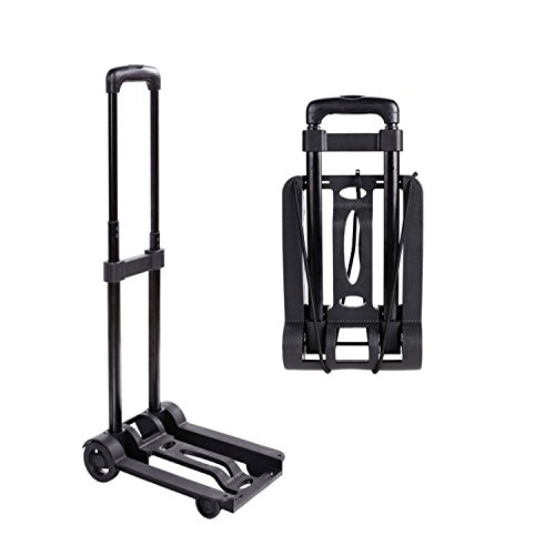 Meditool Portable Folding Dolly 90 lbs Flatbed 4-Wheel Hand truck/ Utility Cart and Lightweight for Travel ,Moving,Luggage, Personal, and Office Use (Utility Dolly Folding)