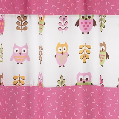 Sweet Jojo Designs Pink Happy Owl Kids Bathroom Fabric Bath Shower Curtain