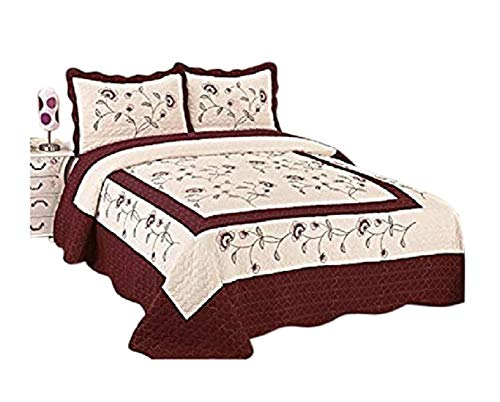 (3pcs High Quality Fully Quilted Embroidery Quilts Bedspread Bed Coverlets Cover Set , Queen King (Beige/Burgundy))