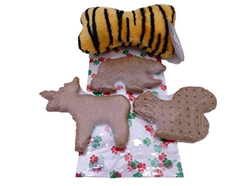 (Dog Holiday Gift Bag - 3 Large Treats and Plush Squeaky Toy Bone in a Cello Paw Print Gift Bag with Satin Ribon (Tiger Stripes))