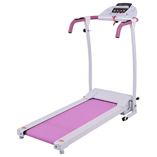 Goplus 800W Folding Treadmill Electric Motorized Power Fitness Running Machine W/ Mobile Phone Holder (Pink)