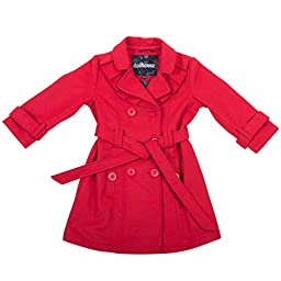 [397012-CrimsonRed-2T] Girls Poly Wool Jacket Double Breasted Trench Coat