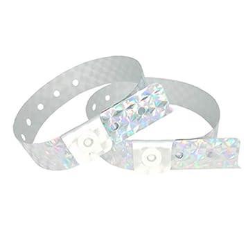 234a0279509c Lote de 100 pulseras plástico/vinilo para eventos – personalizable y  impermeable – holográfico, color plata