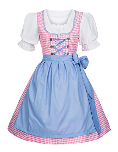 Quesera Women's Dirndl Dress Bavarian Oktoberfest German Carnival Halloween Costume, Pink, US Size XL/XXL=Tag Size (Gretchen Halloween Costumes)
