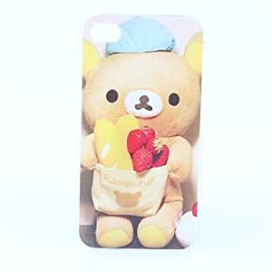 JJE Bear and Strawberry Pattern Hard Case for iPhone 4 and 4S