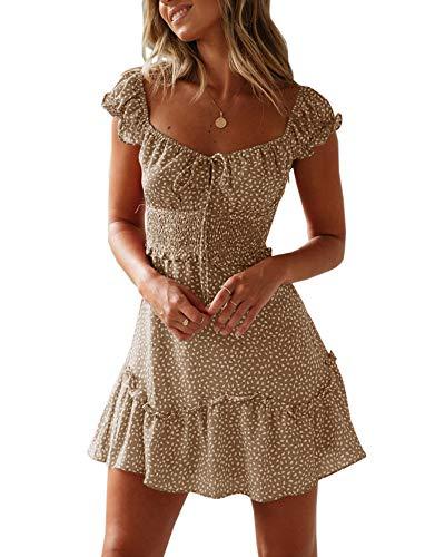 Bigyonger Womens Scoop Neck Ruffle Dresses Tie Knot Front High Waist Boho Beach Mini Dress (Medium, Khaki)