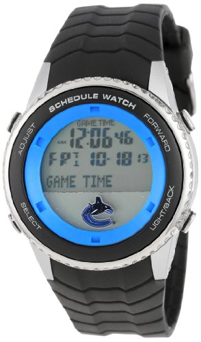 Game Time Men's 'Schedule Watch' Quartz Stainless Steel and Polyurethane Casual, Color:Black (Model: NHL-SW-Van)