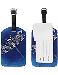 Art Dragonfly Leather Travel Luggage Baggage Card Tag Suitcase ID Label(2Pcs)