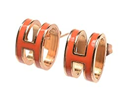 Trendy Gold Orange H Studs Earrings