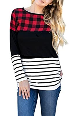 Merryfun Women's Color Block Plaid Tunic Tops Striped Long Sleeve Casual Thick Shirt Blouse