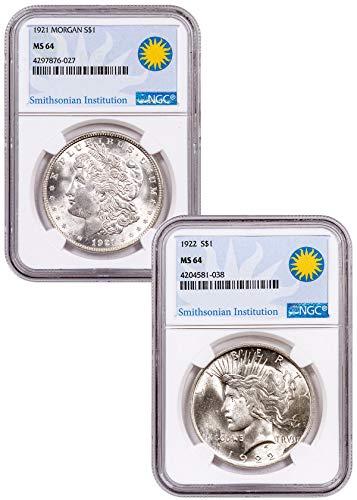 1921 2-Coin 92 Morgan + 922 Peace Set - $1 MS64 NGC