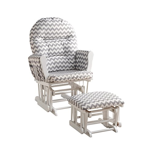 Naomi Home Brisbane Glider & Ottoman Set with Cushion in Gray Chevron and Finish in White For Sale