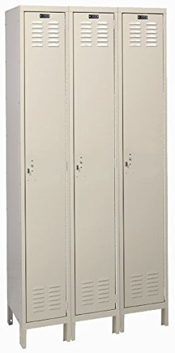 (Hallowell, Assembled Inexpensive Single Tier Lockers - Three Columns Wide, Avlkr1T3W121872, W X D X H: 12 X 18 X 72, Oa Height: 78, Weight: 162, Number Of Openings: 3, Color: Gray, Uh3288-1A)
