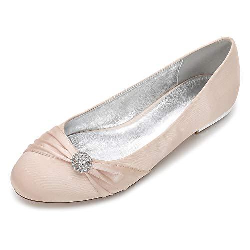 con Zxstz fiore Ballerina da rotonda da Comfort Scarpe piatto Tacco Punta Champagne sposa Scarpe Satin donna strass raso in SrHqOS