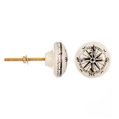 """Drawer Pull   Nautical Compass Ceramic 1.5"""" Knob   Ceramic Cabinet Knob for Boats, Dresser Drawers, Cabinet Drawers, Kitchen Cabinets   (1 Pack)   Plus Free Nautical Ebook by Joseph Rains"""