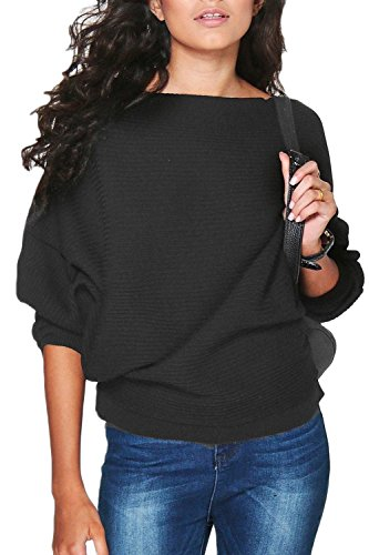 Mujeres Loose Sweater 3 / 4 Manga Pullovers Camisa Black