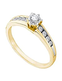 FB Jewels 14kt Yellow Gold Womens Round Diamond Solitaire Bridal Wedding Engagement Ring 1/4 Cttw (I2 clarity; I-J color)