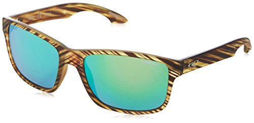 O'Neill Anso 109P Polarized Wayfarer Sunglasses, Matte Seagrass/Green Revo, 57 - Sunglasses & Rectangle Revo Square