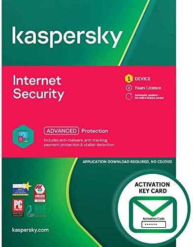 Kaspersky Internet Security 2021 | 1 Device | 2 Years | PC/Mac/Android | Activation Key Card by Post with Antivirus Software, 360 Deluxe Firewall, Web Monitoring, Total Security VPN, Parental Control