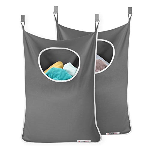 StorageMaid - Set of 2 - Door-Hanging Laundry Hamper with 2 Stainless Steel Hooks - Space Saving Laundry Organizer - On Wall for Small Spaces - with Bottom Zippers for Easy Emptying (Back Laundry Hamper Door Of)