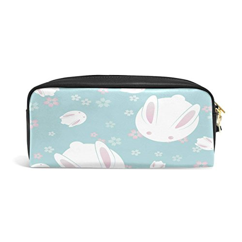 Rabbit Bunny Flower Big Stationery Holder Cosmetic Bag with Zip Art Colored Pen Pouch for Kids Girls Boy (1 Pack) ()