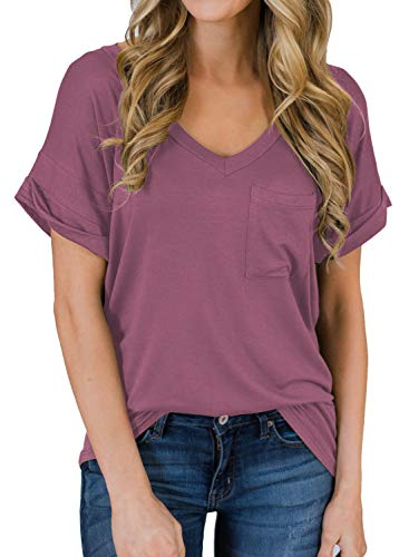 - MIHOLL Women's Short Sleeve V-Neck Shirts Loose Casual Tee T-Shirt (Maroon, Small)
