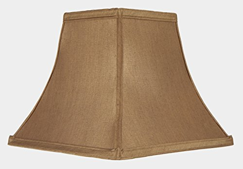 Upgradelights 8 Inch Clip On Square Bell Candlestick Replacement Lamp Shade in Bronze Silk (4x8x7) (Hide Lamp Shades)