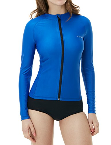 Tesla TM-FSZ01-CBL_Small Women's UPF 50+ Zip Front Long Sleeve Top Rashguard Swimsuit FSZ01