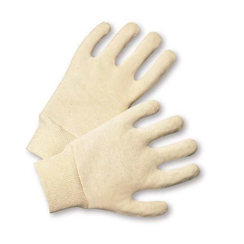 Jersey Reversible Gloves - West Chester KJ55I 100% Cotton Reversible 5oz. Jersey Gloves, White, Large (Pack of 12)