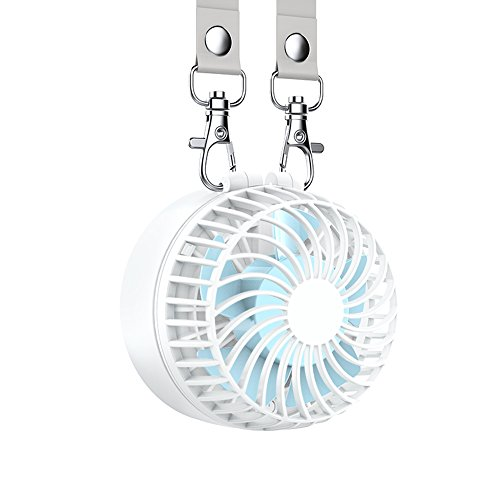 EasyAcc Battery Operated Necklace Fan Rechargeable Personal Fan with 2600mAh Battery and 3 Setting 6-18H Working Hours 180° Rotating Free Adjustment for Camping/Outdoors/Travel – White