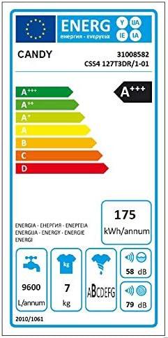 Candy css4 127t3dr/1 – 01 lavadora Slim, Color blanco: Amazon.es ...