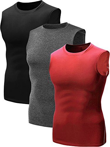 - Neleus Men's 3 Pack Compression Athletic Running Sleeveless Tanks,02,Black,Grey,Red,XL,Tag 2XL