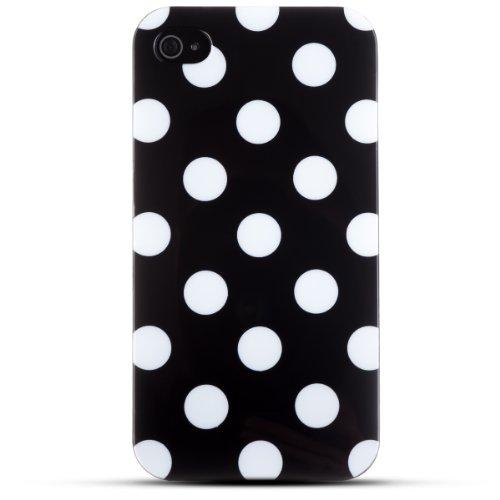 Zooky® schwarz TPU POLKA DOT Schutzhülle / Hülle / Cover für Apple iPhone 4 / 4S