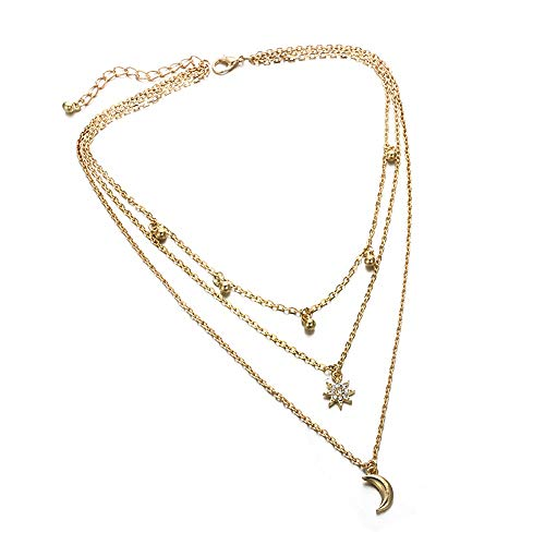 Haluoo Gold Layered Long Crescent Pendant Sweater Chain Necklace for Women Delicate Diamond Stars Pendant Necklace for Ladies Fashion Dainty Beads Tassel Choker Necklace Stylish Chain (Gold)