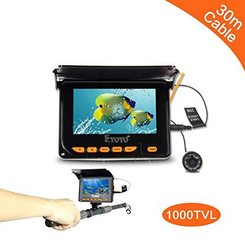 SEXTT Tragbarer Fischfinder, 150 Grad drehbare Kamera 4,3 Zoll Farbe DVR 20 Meter Unterwasserfischerei IP68 wasserdicht 38 LED Fischfinder